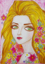 Girl With Flowers by sizikiart