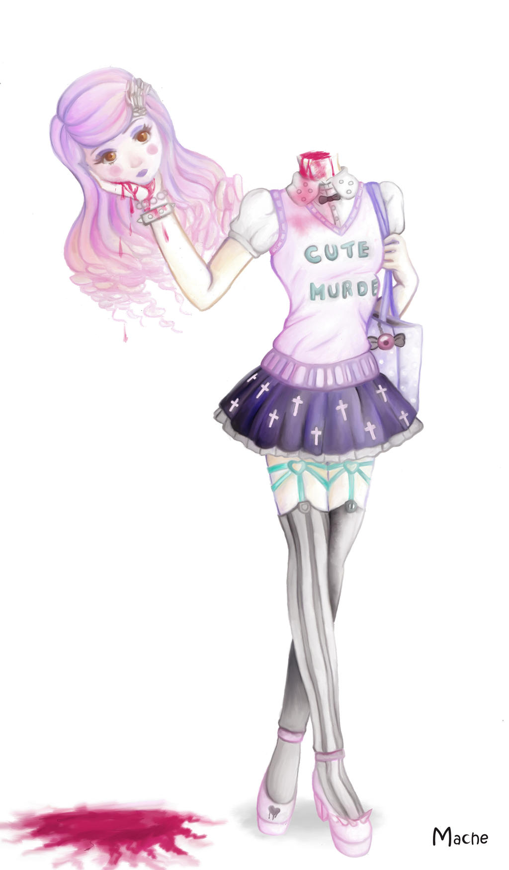 This is an image of Shocking Pastel Goth Girl Drawing
