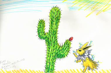 Jolteon And Cactus by diphycue