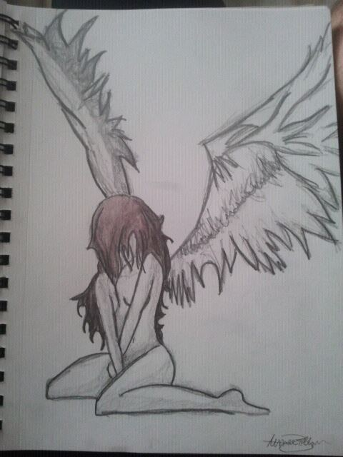 Sitting Sad Angel Girl By Mafiaballoun