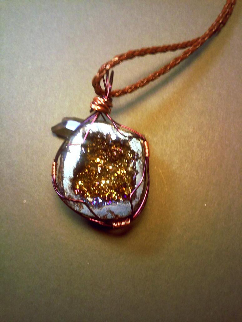 Rainbow titanium quartz geode pendant by Sabhira
