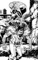 SpiderMan vs Kraven The Hunter inks by MarcLaming