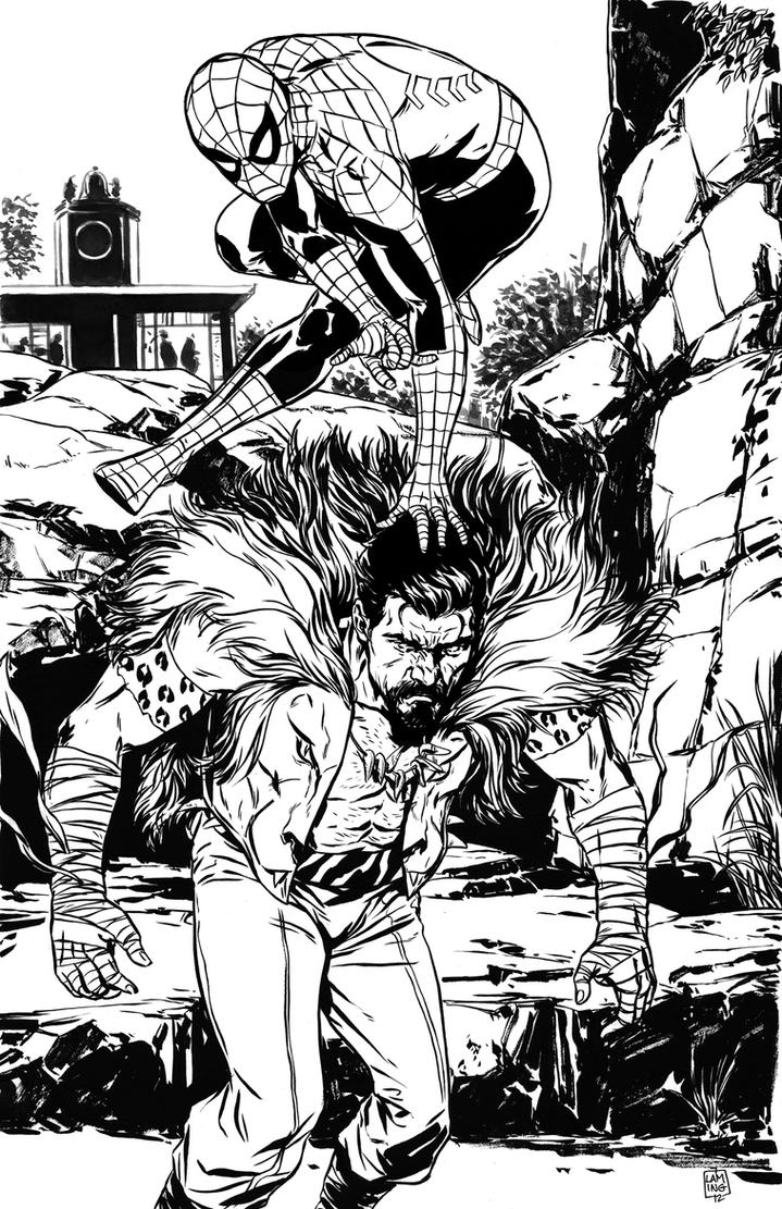 SpiderMan vs Kraven The Hunter inks by MarcLaming
