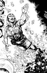 Honest Abe Sapien inks by MarcLaming