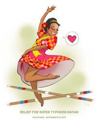 Filipina Tinikling Dancer Pinup Illustration