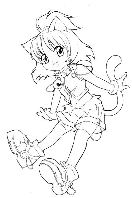 anime girl cat coloring pages - photo#40