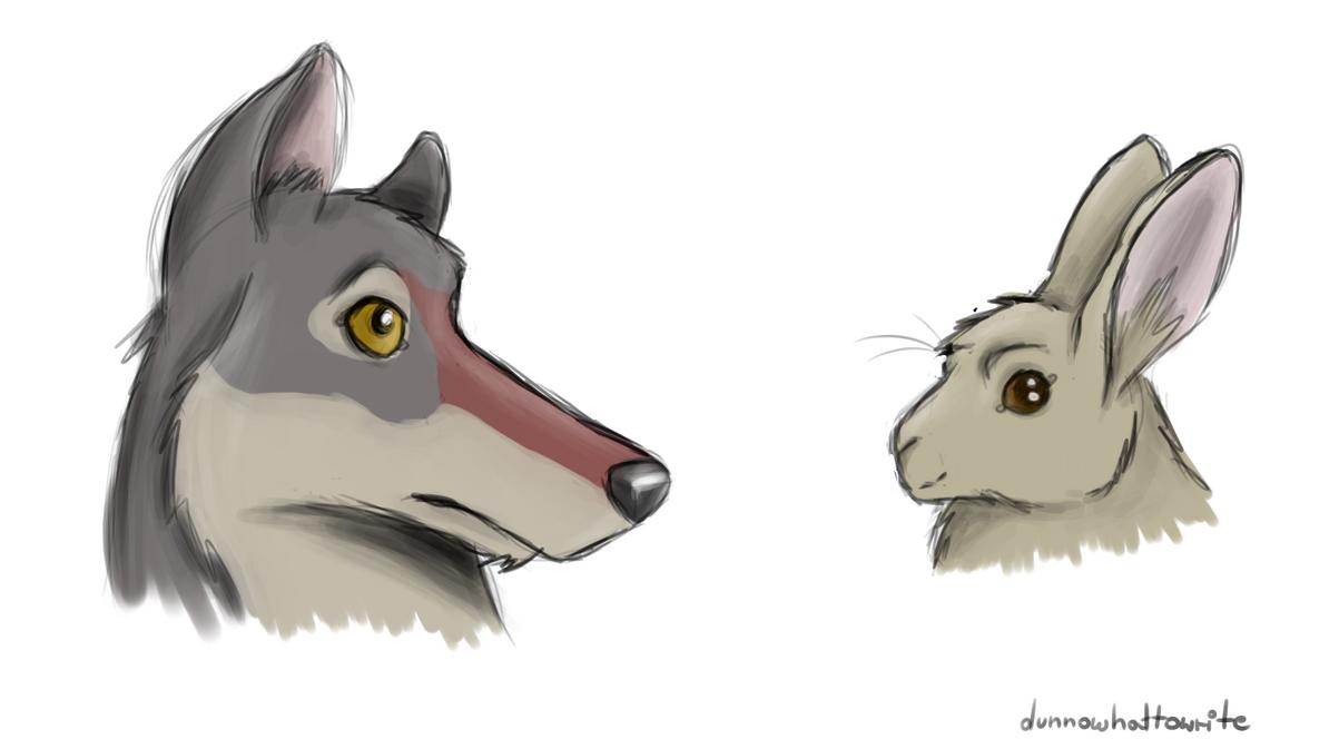 rabbit and wolf cartoon