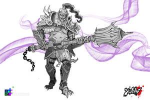 Oni Warrior: Sketch by Pechan