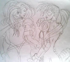 sketch-storm and rogue..x-men by kittykat27