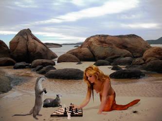 Chessmaster - Mermaid Ama vs otter by sirenabonita