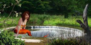 Mermaid Simona and the insideout waterfall by sirenabonita