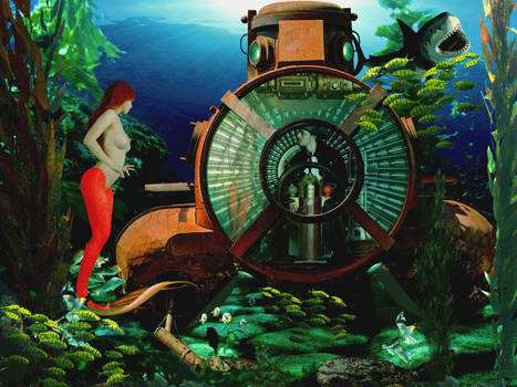 Mermaid Disharmonica and Captain Darkness by sirenabonita