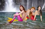 Mermaids Eva, Genie and Nerie ~ At the Falls by sirenabonita