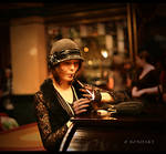 Lady lights a ciragerette by B0NDART