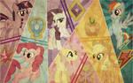 Mane Six Retro Wallpaper