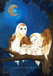 Owl Family by Pochi-n-Puniah