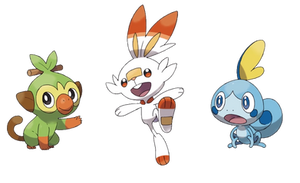 Grookey, Scorbunny, and Sobble PNGs by UmbrellaFrogg