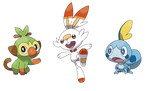 Grookey, Scorbunny, and Sobble PNGs