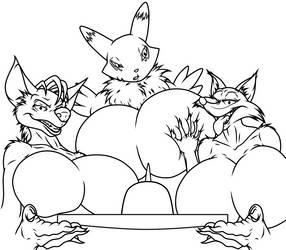 Shenzi, Evita And Renamon's Cake - (Sketch/WIP) by AnthroArtCreations