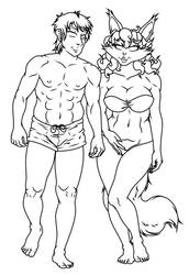 Spencer And Carmen On The Beach - (Sketch/WIP) by AnthroArtCreations