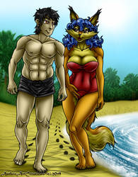 Spencer And Carmen On The Beach - (REQUEST) by AnthroArtCreations
