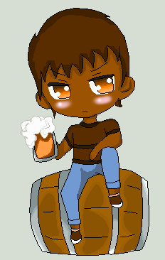 RS- Human Rigby with beer by cupcakeforever18