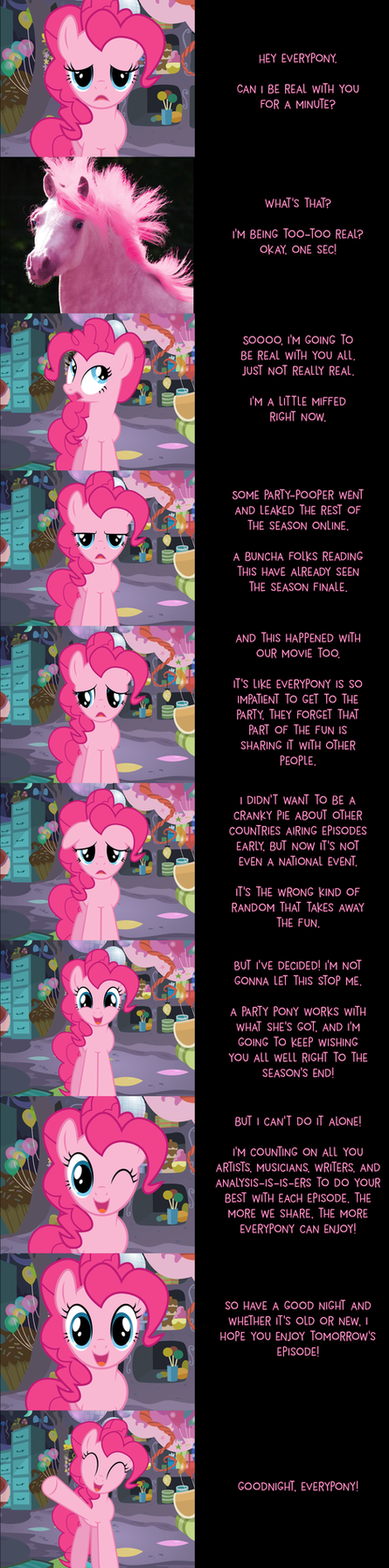 Pinkie Pie Says Goodnight: Being Real by MLP-Silver-Quill