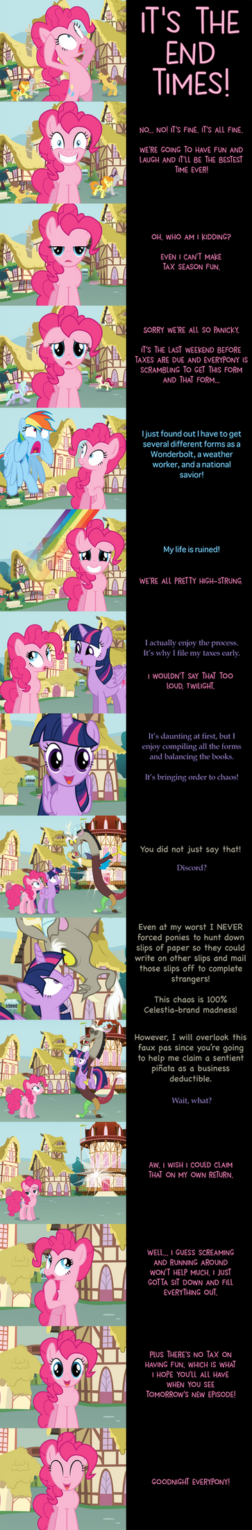 Pinkie Pie Says Goodnight: Taxing by MLP-Silver-Quill