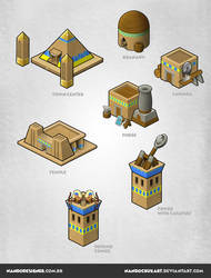 Isometric game buildings - Egyptian empire by NandoCruzArt