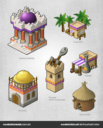 Isometric game buildings - Persian empire by NandoCruzArt