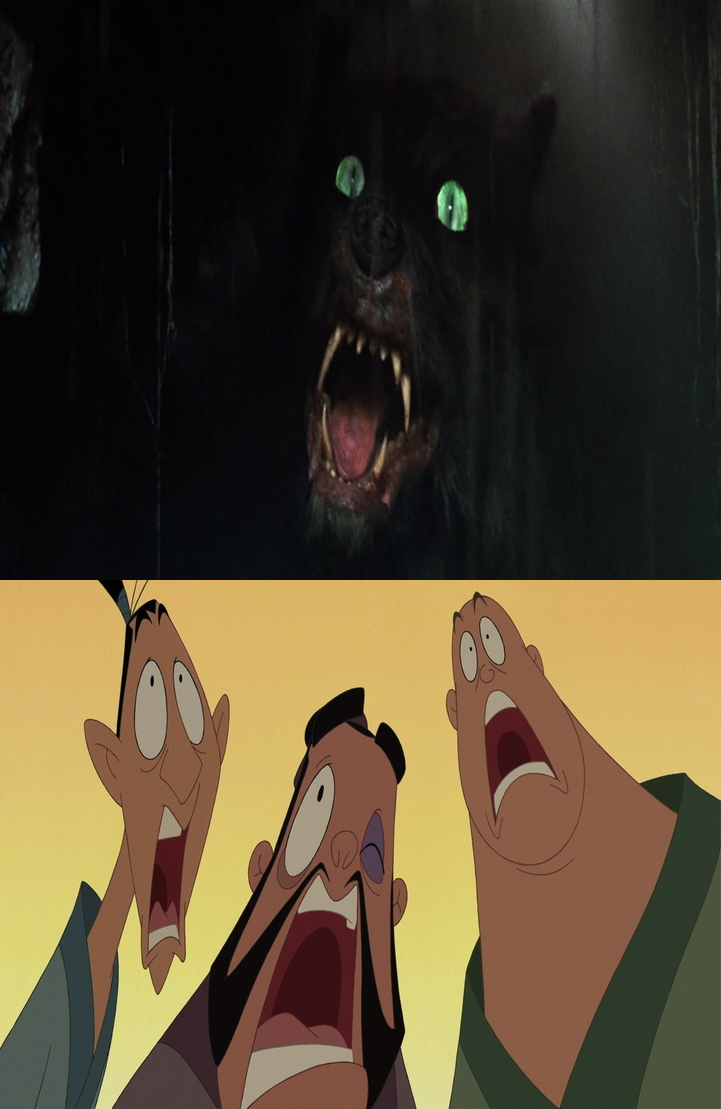 Gmork scares Yao, Ling and Chien Po