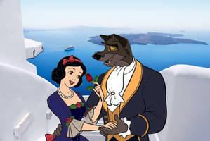 Balto and Snow White in Santorini