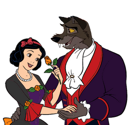 Balto and Snow White in Halloween Clothing