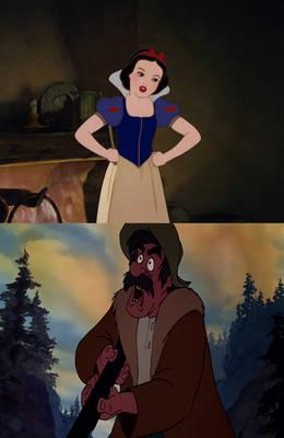 Snow White yells at Amos Slade