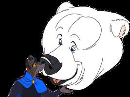 Balto nose kisses Nanuq