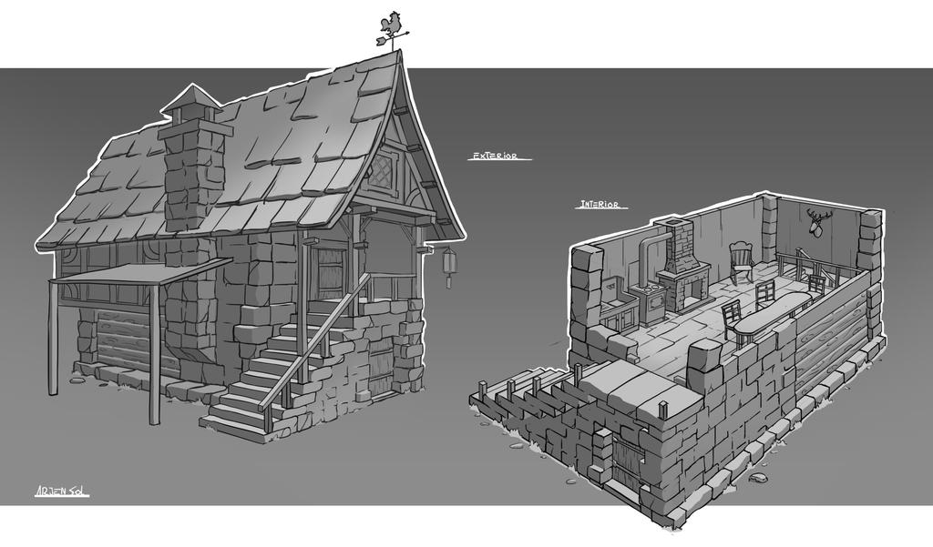 Medieval Rpg House Interior And Exterior By Arjen
