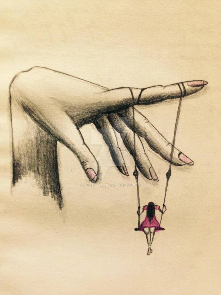 Pencil sketch puppet girl by ahmadimuslim