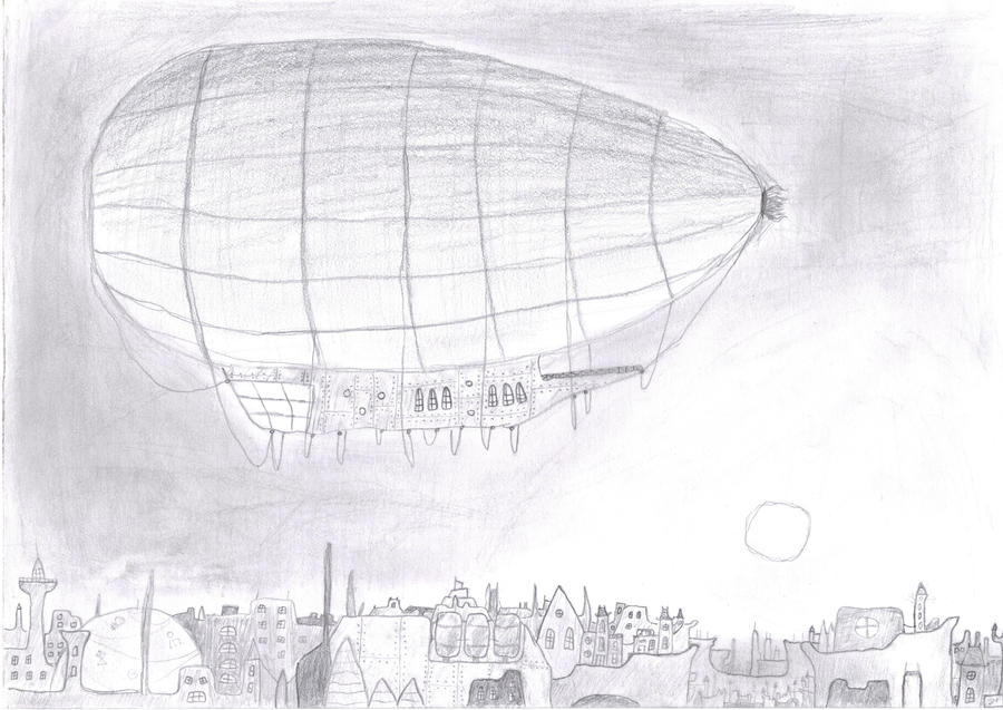 Airship above the City by DB-Krk-171