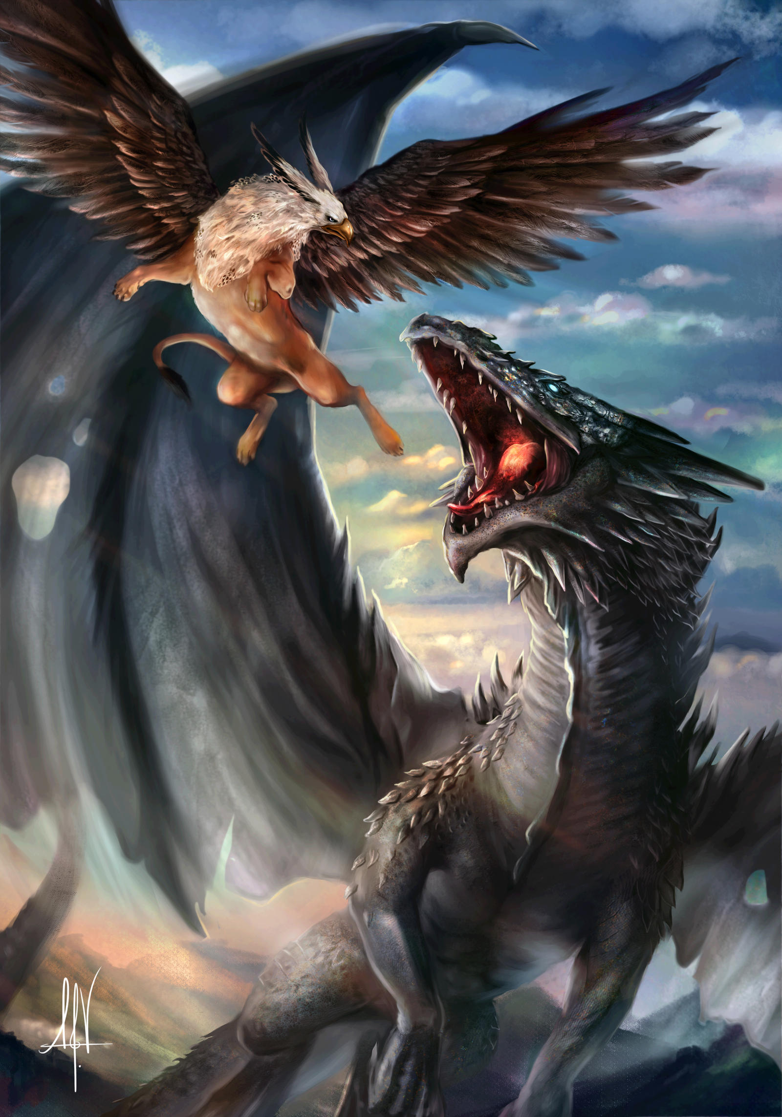 dragon and griffin by tarivanima on deviantart