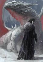 Jon Snow and the Dragon by waLek05