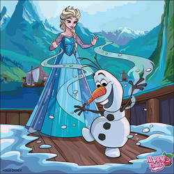 Happy Color: Elsa and Olaf