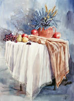 Table, fruits and flowers by kya-azar