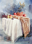 Table, fruits and flowers