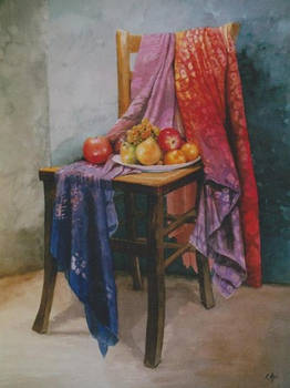 Chair, cloths and fruits.