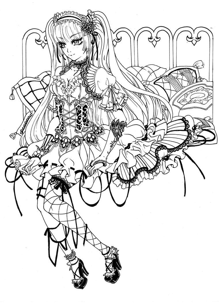 Gothic loli sketch by berrykuro on deviantart for Anime angel coloring pages