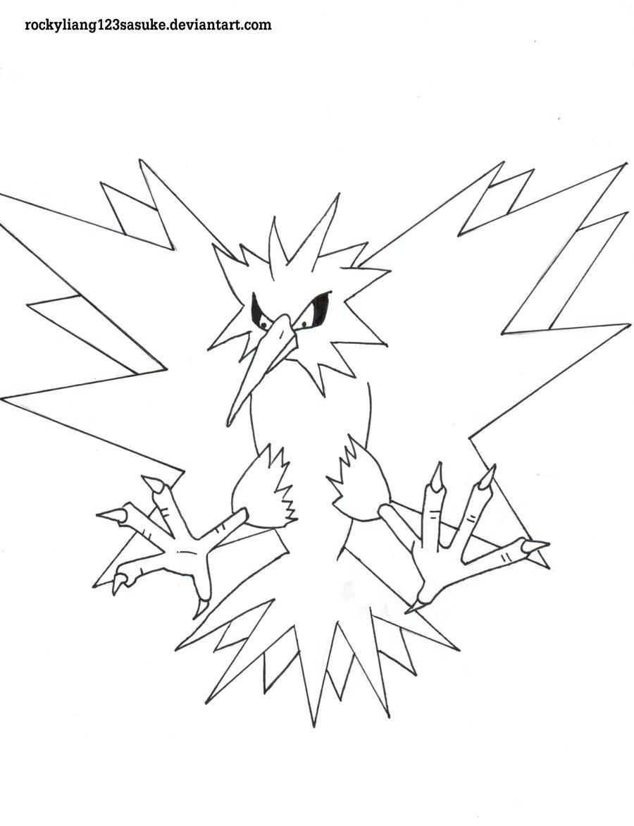 Zapdos pokemon by rockyliang123sasuke on deviantart for Zapdos pokemon coloring pages