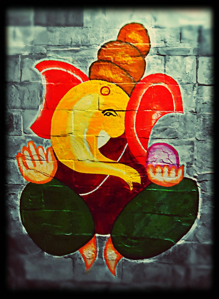 Ganeshji My First Attempt At Wall Painting By Niksrocks On