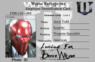 Wayne Enterprises ID Card - Red Hood