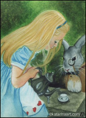 Alice in Wonderland ACEO by Katerina-Art