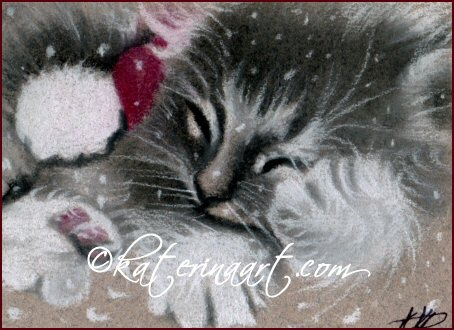 Santa kitty ACEO Christmas giveaway by Katerina-Art